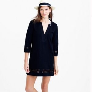 J. Crew black embroidered cotton tunic dress